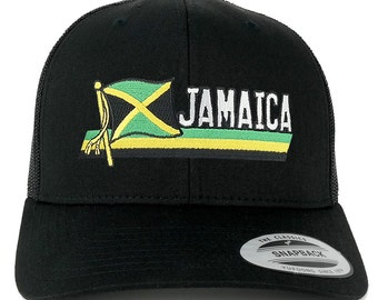 FLEXFIT Jamaica Flag with Text Cutout Embroidered Iron on Patch Snapback Mesh Trucker Cap - Black (6606-FPT120-BLACK)