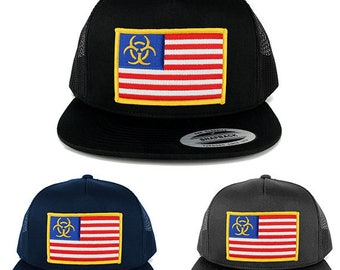 5 Panel Biohazard Yellow American Flag Embroidered Patch Flat Bill Mesh Snapback (6006-USA-FLAG-47)