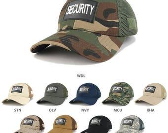 SECURITY Text 3D Rubber Tactical Patch Low Crown Adjustable Mesh Cap (T90-SEC-BLK-T80)