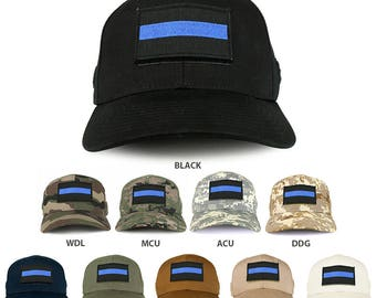 USA One Thin Blue Flag Tactical Patch Structured Operator Baseball Cap (T75-37789)