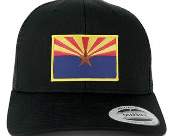 FLEXFIT Arizona Home State Flage Embroidered Patch Snapback Mesh Trucker Cap - Black (6606-FPA503-BLACK)