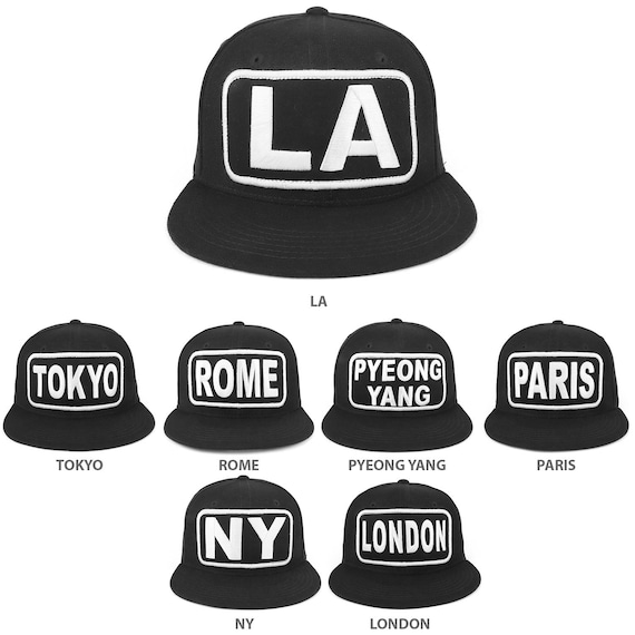 d4b7cd8b4d39d City Name Embroidered Patch High Profile Flatbill Snapback Cap