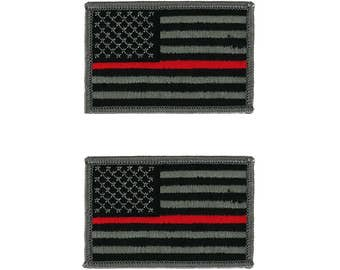 Thin Red Line Fire Fighter EMS Flag Embroidered Iron On Patch - 2 Piece Pack