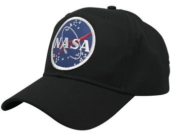NASA Space Logo Embroidered Iron On Patch Snap Back Cap - 2 Styles