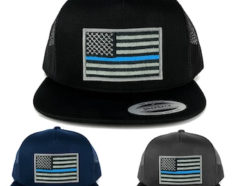 FLEXFIT 5 Panel American Flag Patched Snapback Mesh Cap - Thin Blue Line (6006)