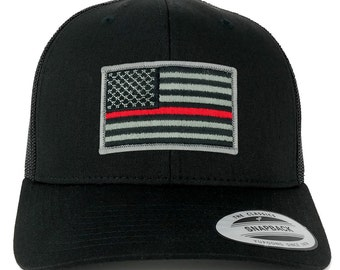 FLEXFIT American Flag Patch Snapback Trucker Mesh Cap - BLACK - Thin Red Line (6606)