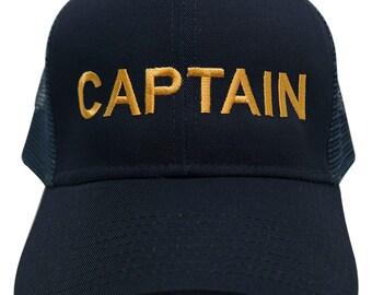 CAPTAIN Embroidered 6 Panel Trucker Navy Cap - Mesh Back or Plain Back
