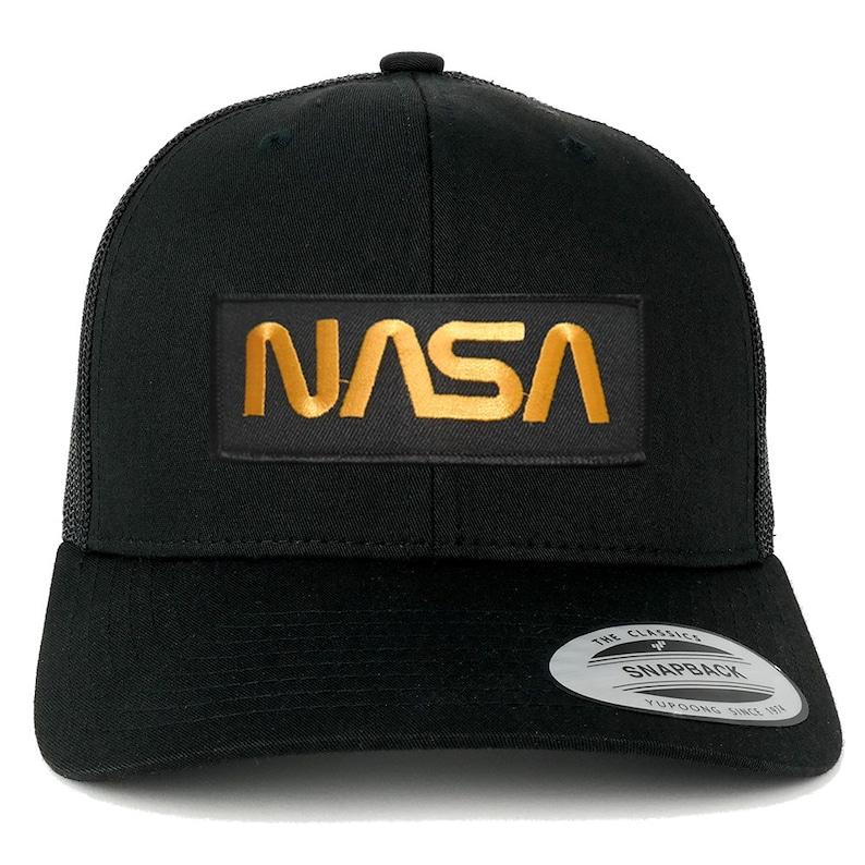 16e0d3279 FLEXFIT NASA Worm Gold Text Embroidered Iron on Patch Snapback Mesh Trucker  Cap - Black (6606-PM302-BLACK)