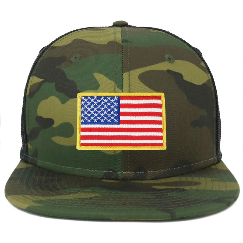 FREESHIP Oversize XXL Grey American Flag Embroidered Structured Snapback Cap