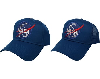 NASA Insignia Space Logo Embroidered Patch Snapback Cap - Royal Blue