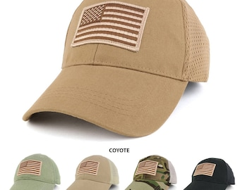 USA American Flag Desert Embroidered Tactical Patch with Mesh Operator Cap (EC-72063-USA-Des-Mesh)