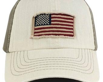 Frayed American Flag Cotton Twill Two Tone Baseball Cap (USA53)