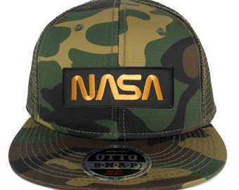 NASA Worm Gold Text Embroidered Patch Snapback Camo Trucker Mesh Cap (153-1120-PM302)