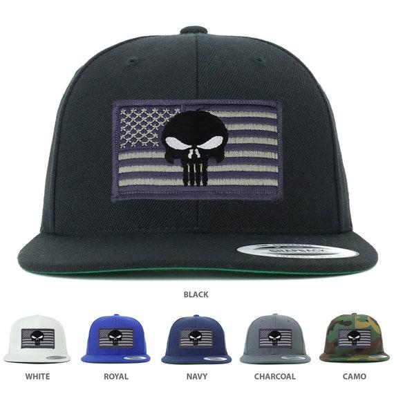25259e2c31987 Flexfit Premium Classic Snapback Grey Punisher American Flag