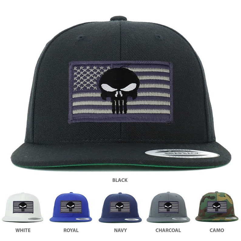 17ca9d2ec97 Flexfit Premium Classic Snapback Grey Punisher American Flag | Etsy
