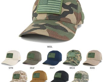USA Flag OLIVE 2 Embroidered Tactical Patch Adjustable Structured Operator Cap (T91-USA-OLV2-T75)