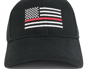 Thin RED Line US Flag Embroidered Low Profile Brushed Cotton Cap (9896)
