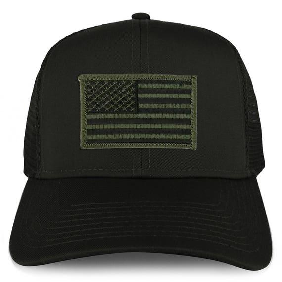XXL Oversize Black Olive USA Flag Patch Mesh Back Trucker Baseball Cap