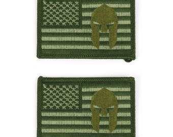 USA American Flag Spartan Logo Embroidered Patch - 2 pack (USA-FLAG-18-2PK)