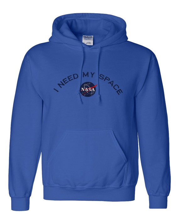 Mens I Need My Space NASA Embroidered Heavy Blend Hooded Sweatshirt