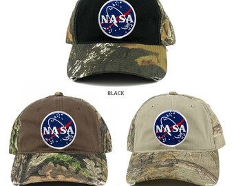 NASA Round Meatball Embroidered Patch Mossy Oak Realtree Camo Adjustable Cap  (C807-MEATBALL)