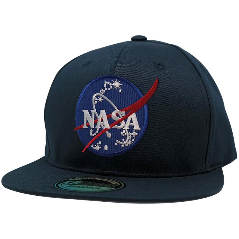 d8296a5d79971 KBethos NASA Insignia Space Logo Patch Flat Bill Snapback Cap