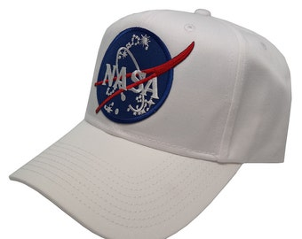 NASA Insignia Embroidered Iron On Patch SnapBack Cap - White