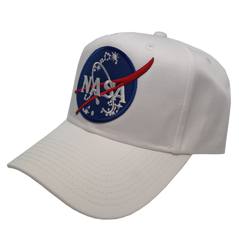 ba5440408fb77 NASA Insignia Embroidered Iron On Patch SnapBack Cap White