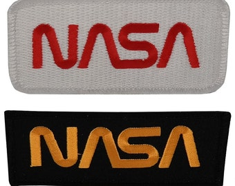 2 Piece Pack of NASA Space Embroidered Iron On Patch - 2 Colors