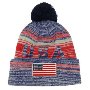 4eebbe6d1c0 Armycrew New USA American Flag Embroidered Pom Pom Cuff Beanie Hat WB082-USA -02-RED-NVY