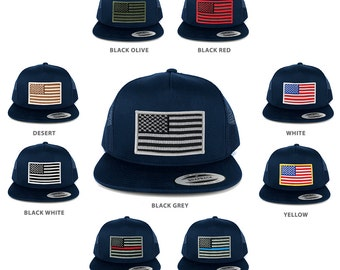 FLEXFIT 5 Panel American Flag Patched Snapback Mesh Navy Cap - Navy (6006-nvymesh)
