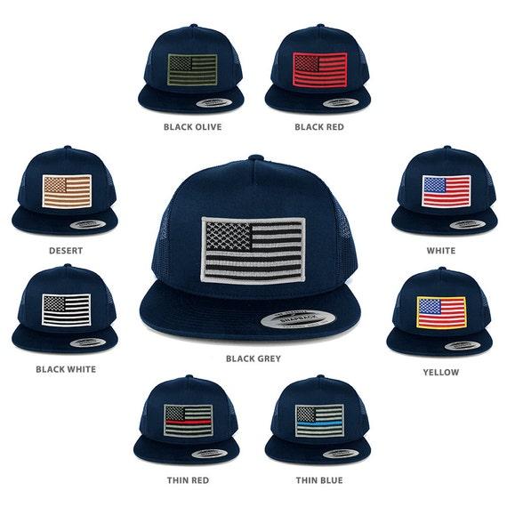 FLEXFIT 5 Panel American Flag Patched Snapback Mesh Navy Cap  7b401b0f064