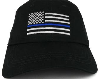 Thin Blue Line USA Flag Embroidered Low Profile Unstructured Mesh Fabric Cap (ROTH-9973)