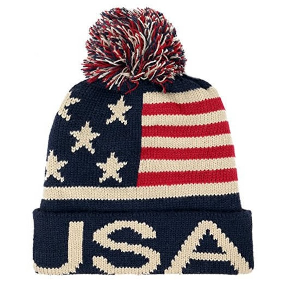 baf52bf1384 Youth USA Text and Flag Winter Cuff Folded Beanie Hat with Pom