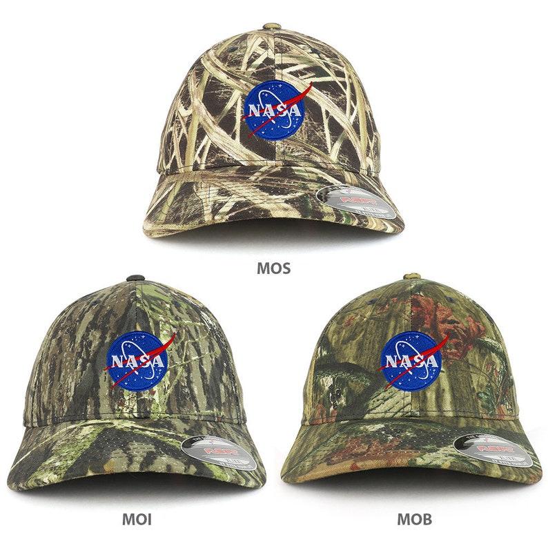 XXL Oversized Mossy Oak NASA Insignia Small Patch Flexfit Cap  (flex-6999XX-INSIGNIA-sm)