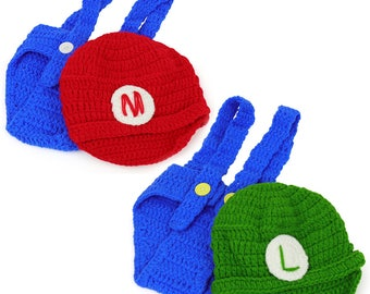 Mario and Luigi Infant 2 Piece Outfit Crochet Hat and Pants (SMB)