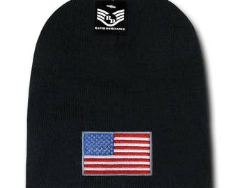 USA American Flag Embroidered Acrylic Short Beanie Hat (R95-USA)
