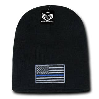 Thin Blue Line Embroidered US American Flag Skull Short Beanie Hat (R95-TBL)