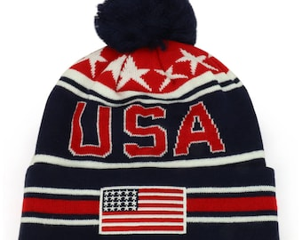 NEW USA American Flag Embroidered Pom Pom Cuff Beanie Hat (WB082-USA)