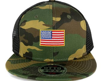 Small Yellow American Flag Embroidered Patch Camo Flat Bill Snapback Mesh Cap (153-1120-USA-FLAG-11)