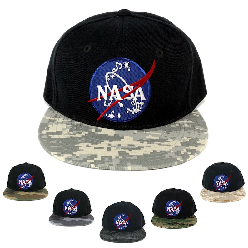 a7cdc049f541f NASA Insignia Space Embroidered Iron on Patch Camo Flat Bill