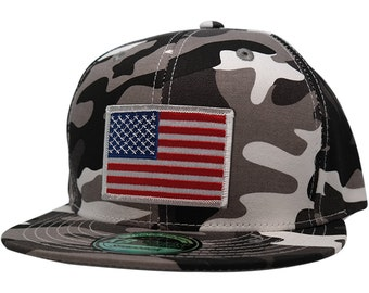 KBethos Patriotic American Flag Patch Flat Bill Snapback City Camo Cap - Choose from 5 Patches