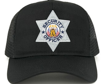 Security Officer Silver Embroidered Iron on Patch Adjustable Mesh Trucker Cap (30287-FCE-103-SECURITY)