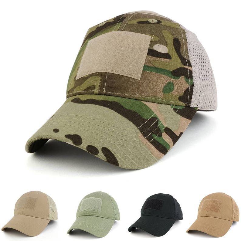 f66103101f3 Mesh Tactical Hook and Loop Patch Adjustable Blank Mesh Cap