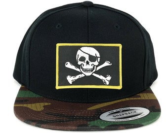 FLEXFIT Jolly Rogers Military Skull Embroidered Patch Snapback Cap with Camo Visor (6089TC-PM507-CAMO)