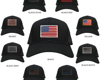 USA American Flag Embroidered Patch Snapback Mesh Trucker Cap - BLACK (30-287-BLACK)