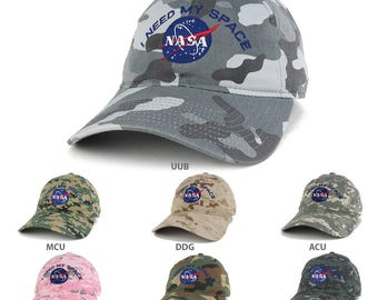 NASA, I Need My Space Embroidered Low Profile Adjustable Camo Cap (216-INEEDMYSPACE)