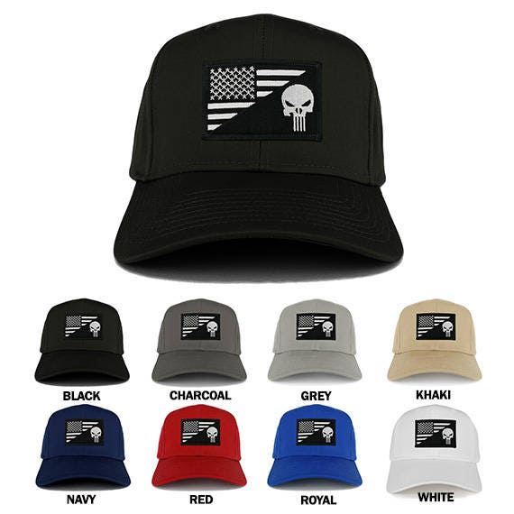 Punisher and Black White American Flag Embroidered Iron on Patch Adjustable  Cap (27-079-USA-FLAG-59) 3ac7f9901bd
