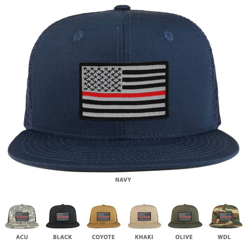 Thin Red 2 American Flag Iron on Patch Flat Bill Ripstop Trucker Mesh Cap -  (241-THINRED2)