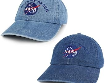 NASA I Need My Space Low Profile Denim Garment Washed Adjustable Cap (7610-INEEDMYSPACE)